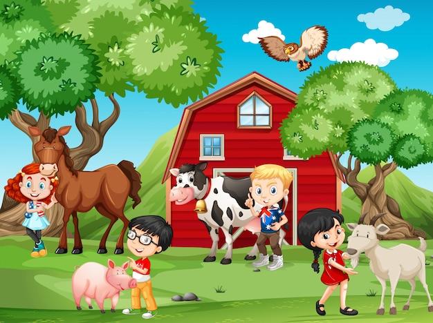 Niños y animales de granja.