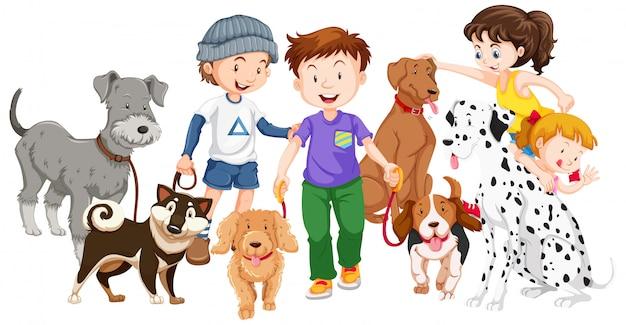 Niños con animales sobre fondo aislado