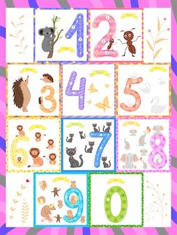 Los niños aprenden a contar y escribir. el estudio de los números 0-10.