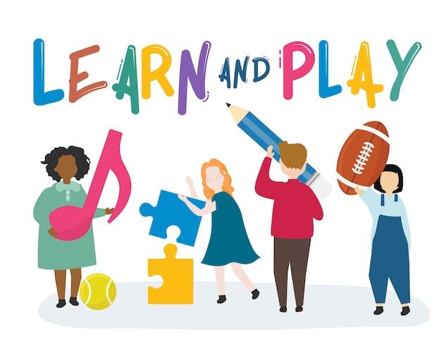 Niños aprendiendo y jugando ilustración