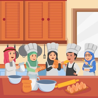Niños árabes en clases de cocina preparándose para hacer dibujos animados de ilustración vectorial de pastel