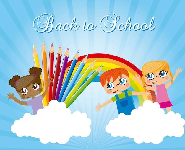 Niños con arcoiris y lápices de colores de regreso a la escuela.