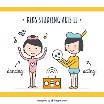 Niños artísticos en estilo lineal