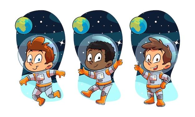 Niños astronot en el espacio