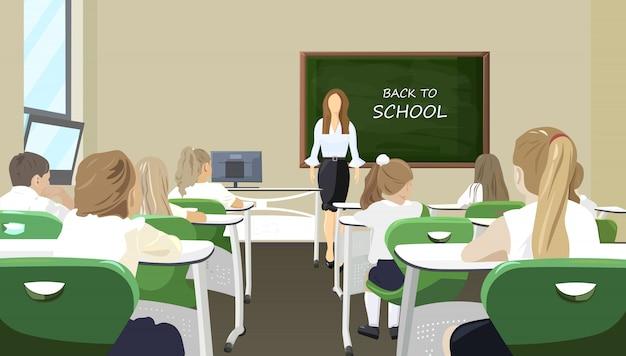 Niños en el aula escuchando la lección estilo plano