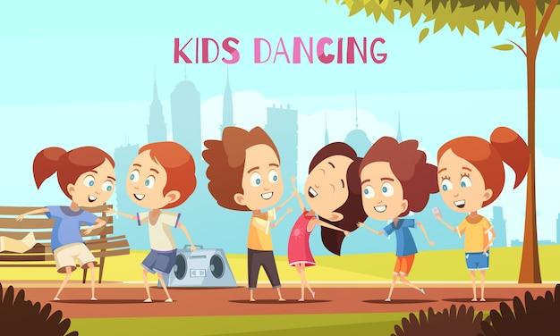 Niños bailando ilustración vectorial