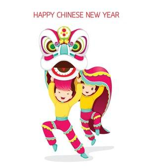 Niños con el baile del león, celebración tradicional, china, feliz año nuevo chino