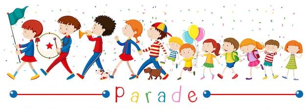 Niños y la banda en el desfile ilustración