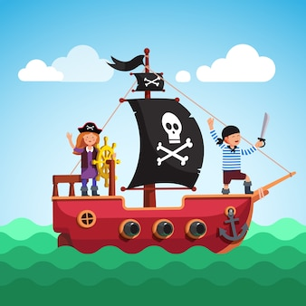 Niños barco pirata navegando en el mar con la bandera