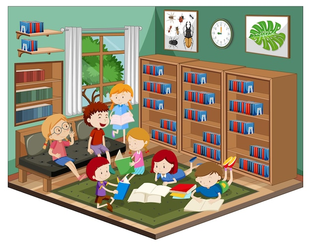 Niños en la biblioteca con muebles.
