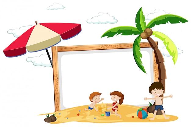 Niños en el borde en blanco