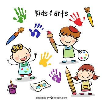 Niños de bosquejo con elementos artístico