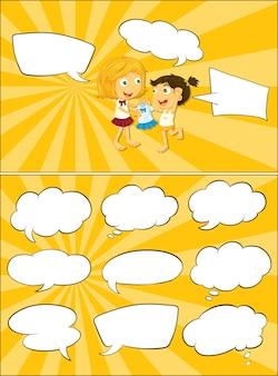 Niños y burbujas de discurso en blanco