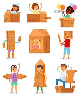 Niños en caja personaje infantil creativo jugando en casa en caja y niño o niña en avión de cartón o barco de papel conjunto de ilustración de creatividad infantil paquete sobre fondo blanco