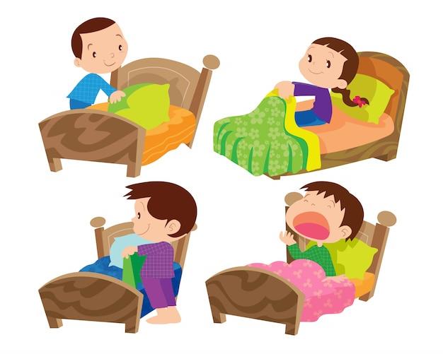Niños y cama