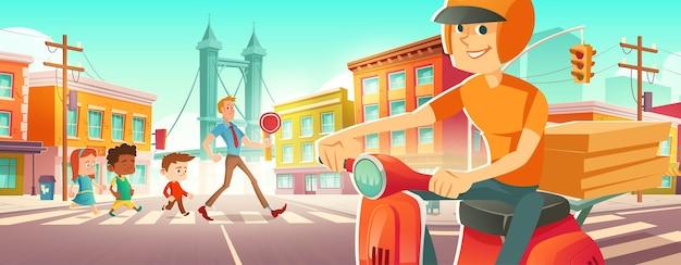 Los niños caminan en el paso de peatones con el maestro repartidor en scooter con pizza espera en la carretera i ...