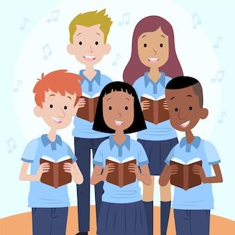Niños cantando juntos en un coro ilustrado.