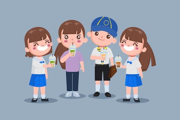 Niños de carácter lindo con té de burbujas taiwanés
