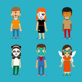 Niños con caras pintadas.