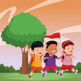 Niños y caricaturas del campamento de verano.