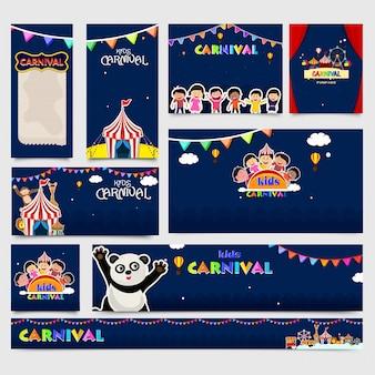 Niños carnaval conjunto de banners de medios sociales decorado con buntings de colores y otros elementos