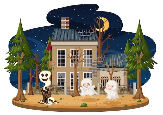 Niños en la casa embrujada.