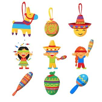Los niños celebran a posada rompiendo el tradicional juego de piñata de burro