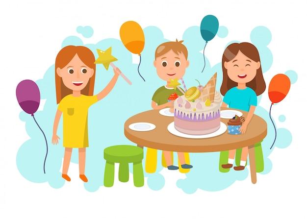 Niños celebrando fiesta de cumpleaños de dibujos animados plana