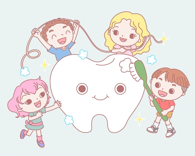 Niños cepillando a un bebé dientes sanos en estilo de línea