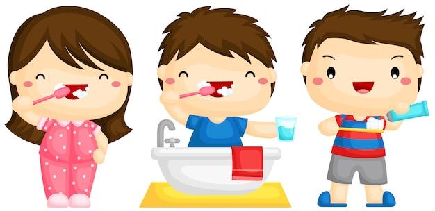 Niños cepillando los dientes