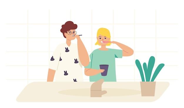 Niños cepillándose los dientes, personajes familiares felices de hermanos y hermanas con cepillo de dientes y pasta procedimiento de higiene dental, rutina matutina, cuidado bucal y de salud infantil. ilustración de vector de gente de dibujos animados