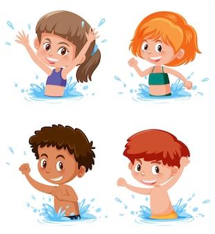 Niños chapoteando en escena de agua
