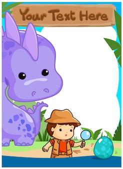 Niños de la ciencia que acampan con el ejemplo del vector del cartel del dinosaurio. listo para su texto.