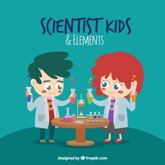 Niños científico de dibujos animados con elementos