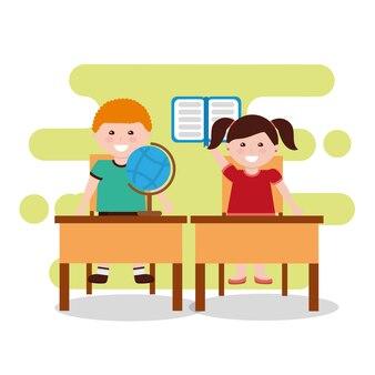 Niños clase cuaderno globo mapa y escritorios sillas