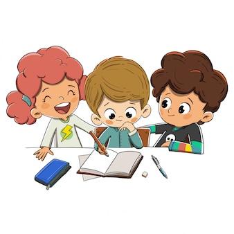 Niños en clase haciendo tarea.