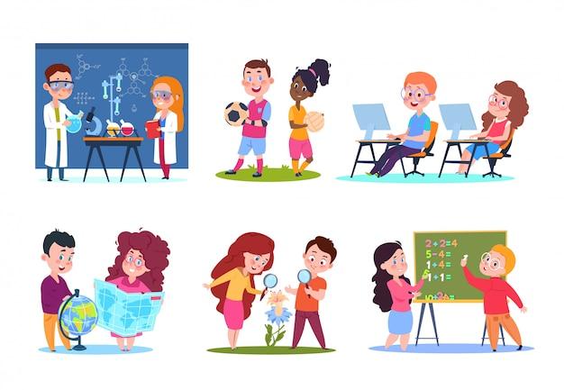 Niños en clases. niños en edad escolar que aprenden geografía y química, biología y matemáticas. conjunto de personajes de dibujos animados