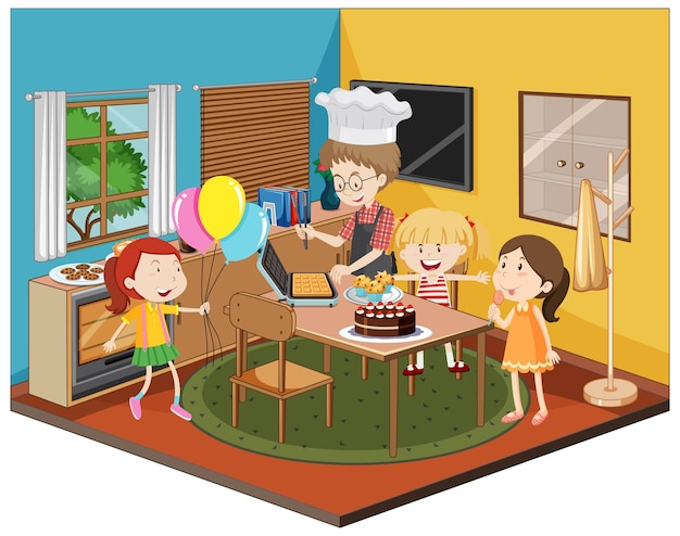 Niños en la cocina con tema de fiesta.