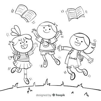 Niños de cole felices dibujados a mano