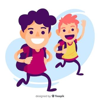 Niños de cole felices saludando