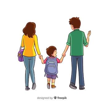 Niños de colegio con sus padres dibujados a mano