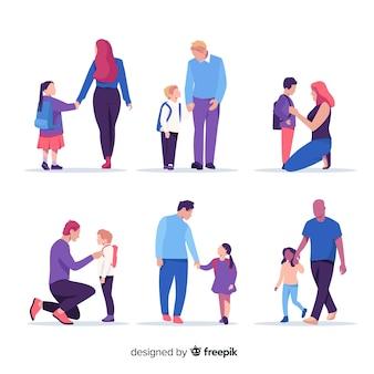 Niños de colegio con sus padres