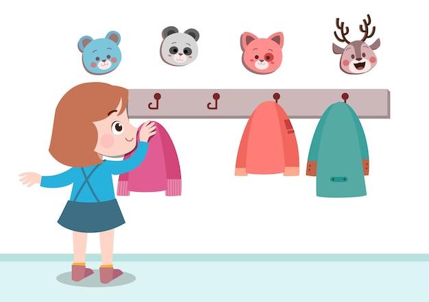 Niños colgando chaqueta ilustración vectorial aislado