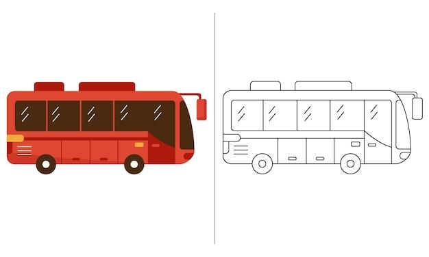 Los niños para colorear la ilustración del libro rojo autobús transporte público
