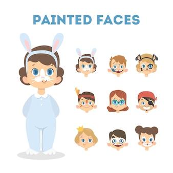 Niños con colores pintando la cara para vacaciones. chico como conejo.