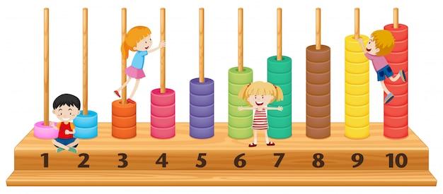 Niños en colorido ábaco.