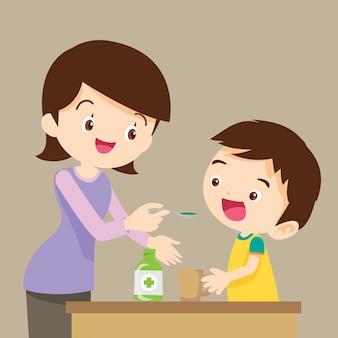 Los niños comen medicina