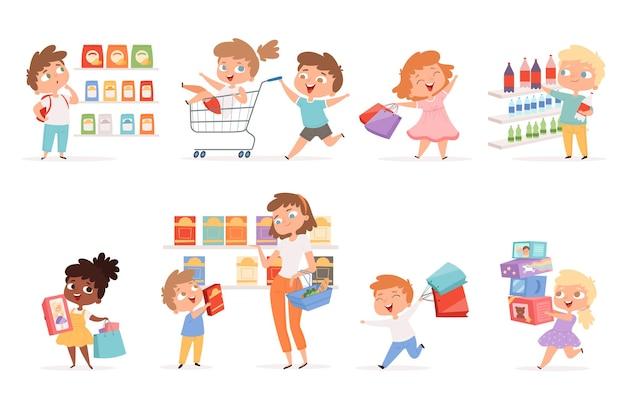 Niños de comestibles. los padres con niños compran productos y juguetes con ilustraciones de dibujos animados.