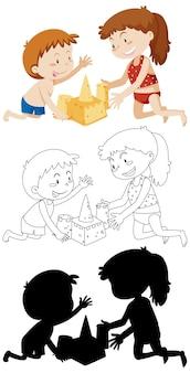 Niños construyendo castillos de arena en color y en contorno y silueta