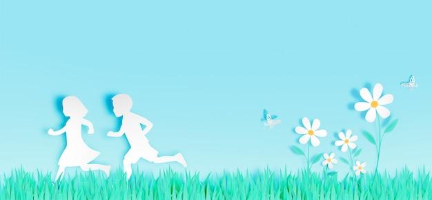 Los niños corren entre hermosas flores con campo de hierba en la ilustración de vector de estilo de arte de papel